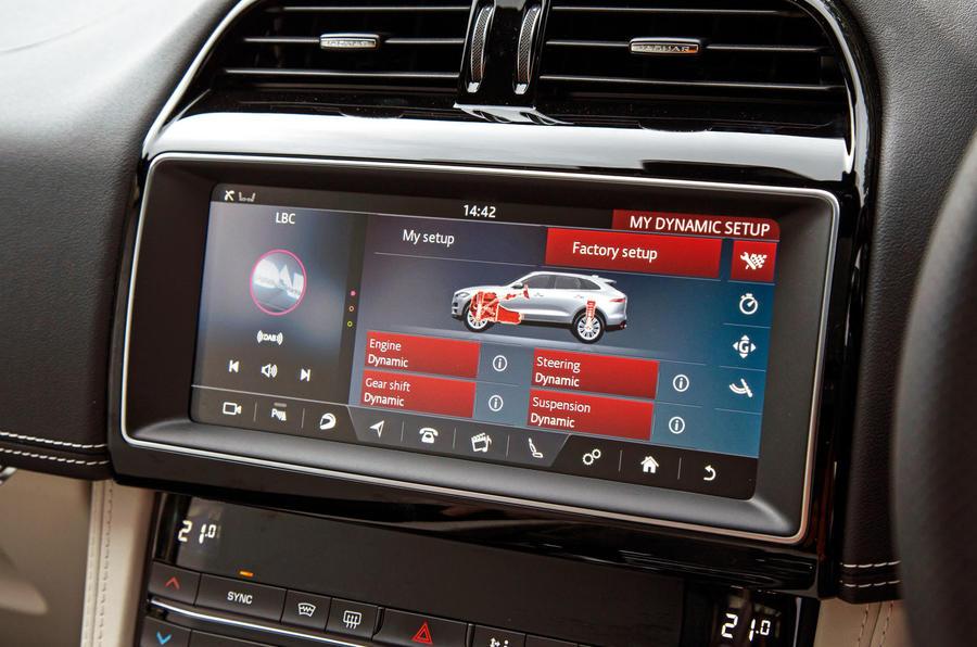 Jaguar F-Pace SVR 2019 road test review - drive modes display
