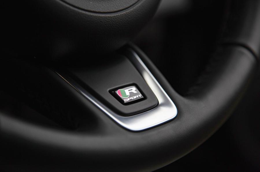 Jaguar XF Sportbrake 2019 road test review - steering wheel badge