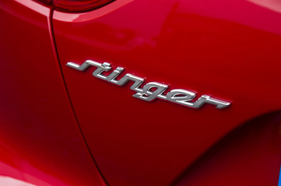 Kia Stinger GT line 2018 review Stinger badge