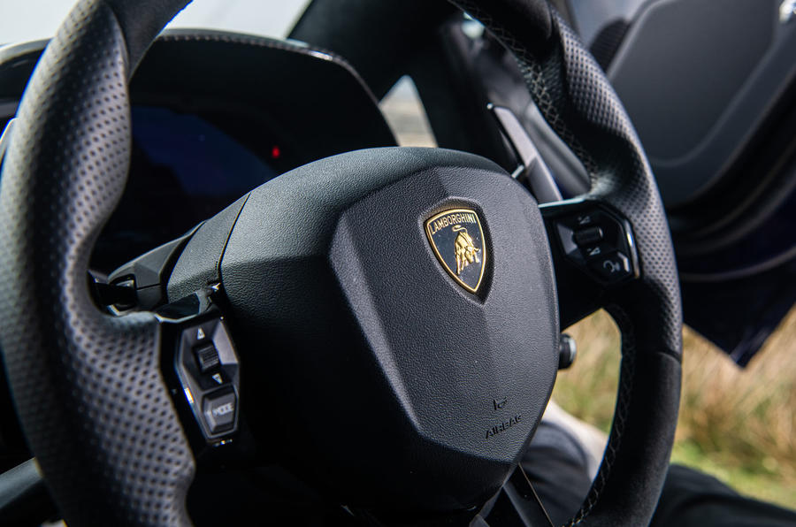 Lamborghini Aventador SVJ 2019 road test review - steering wheel