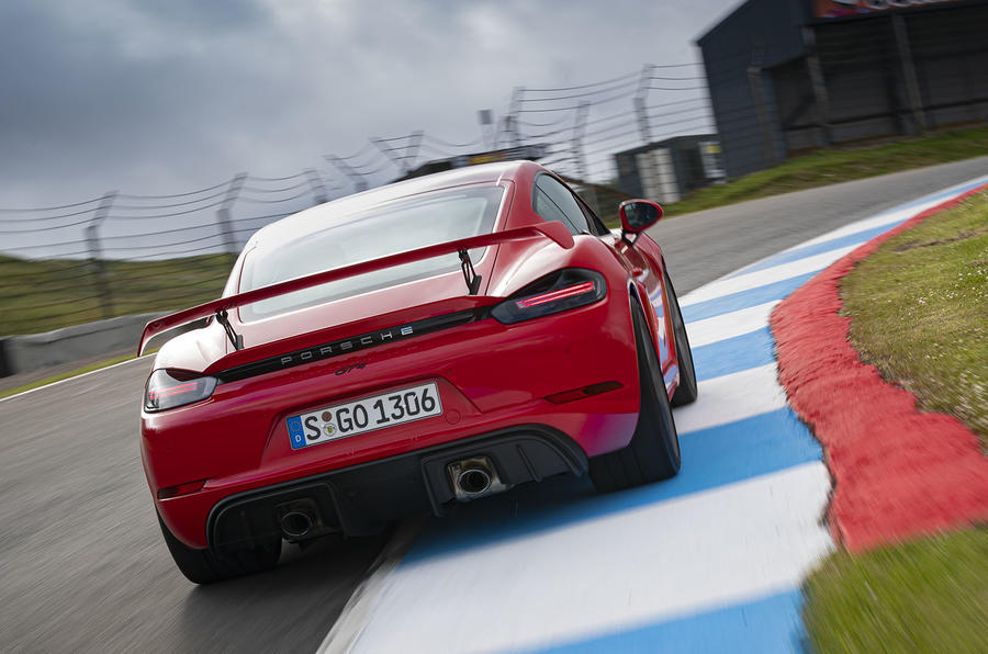 Porsche 718 Cayman GT4 2019 road test review - track rear
