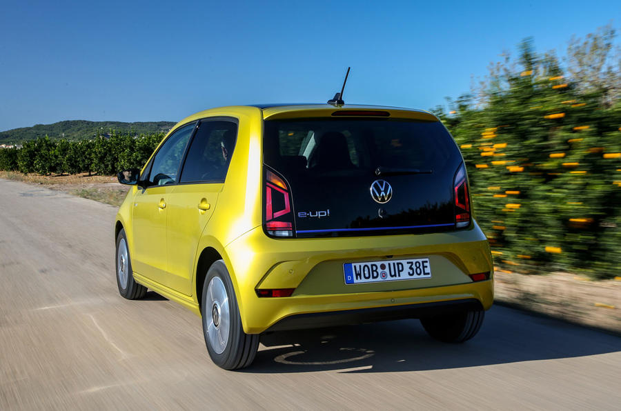 Volkswagen e-Up 2020 road test review - on the road rear