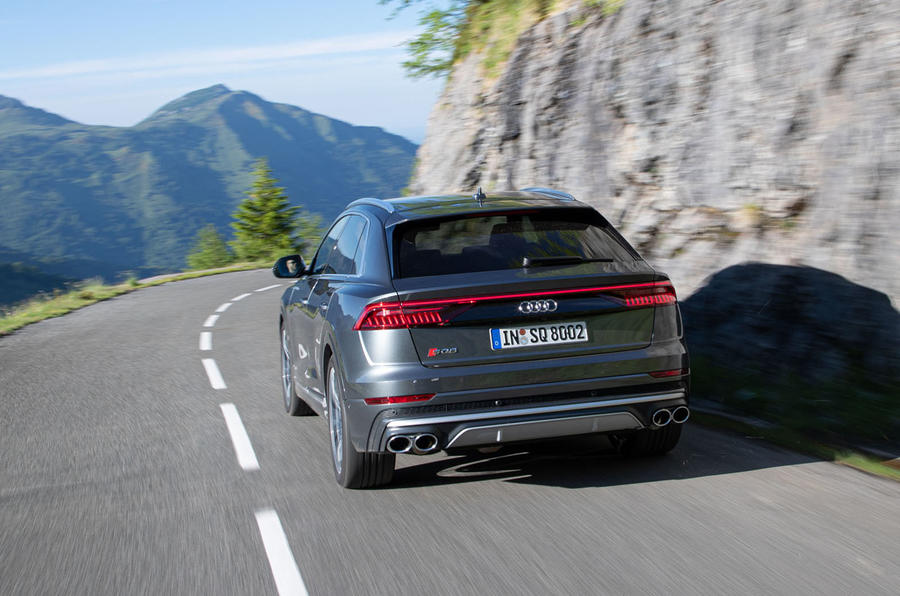 Audi SQ8 2019 road test review - cornering rear
