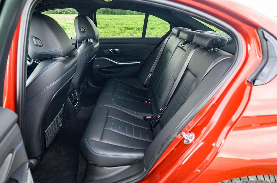 BMW 3 Series 330e 2020 road test review - rear seats