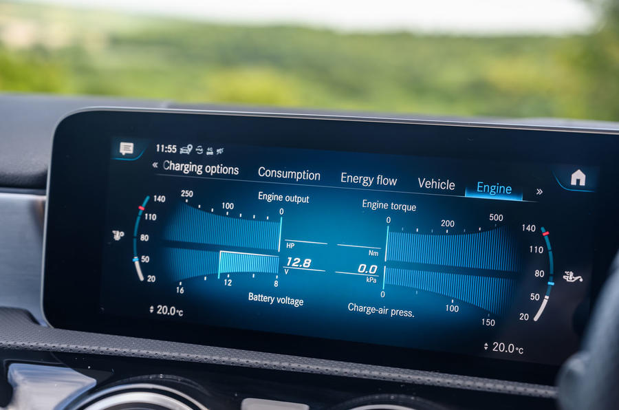Mercedes-Benz A250e 2020 road test review - energy meter