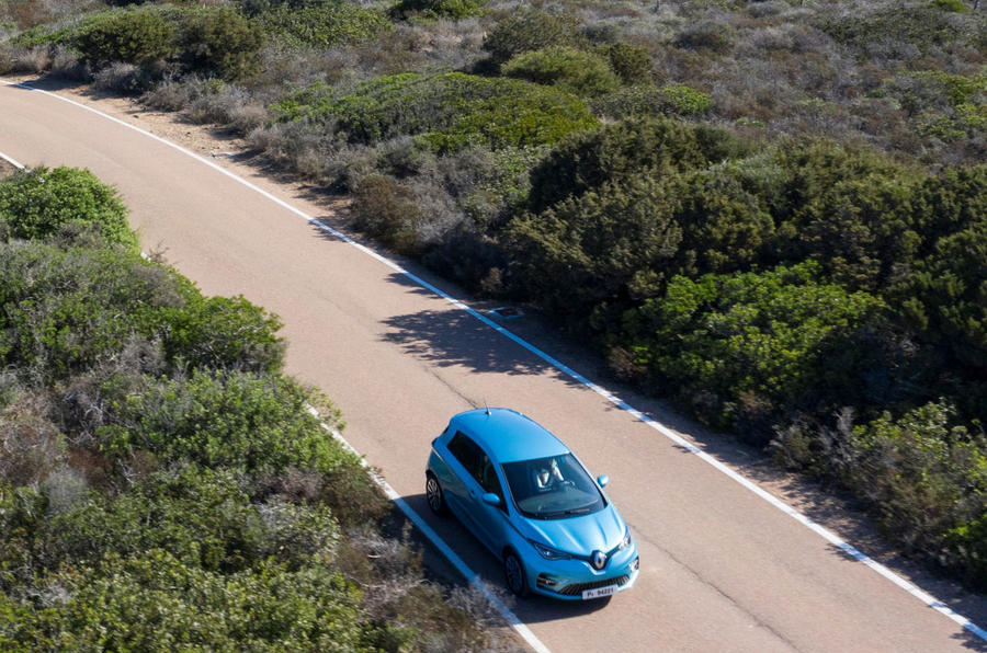 Renault Zoe 2020 road test review - on the road aerial