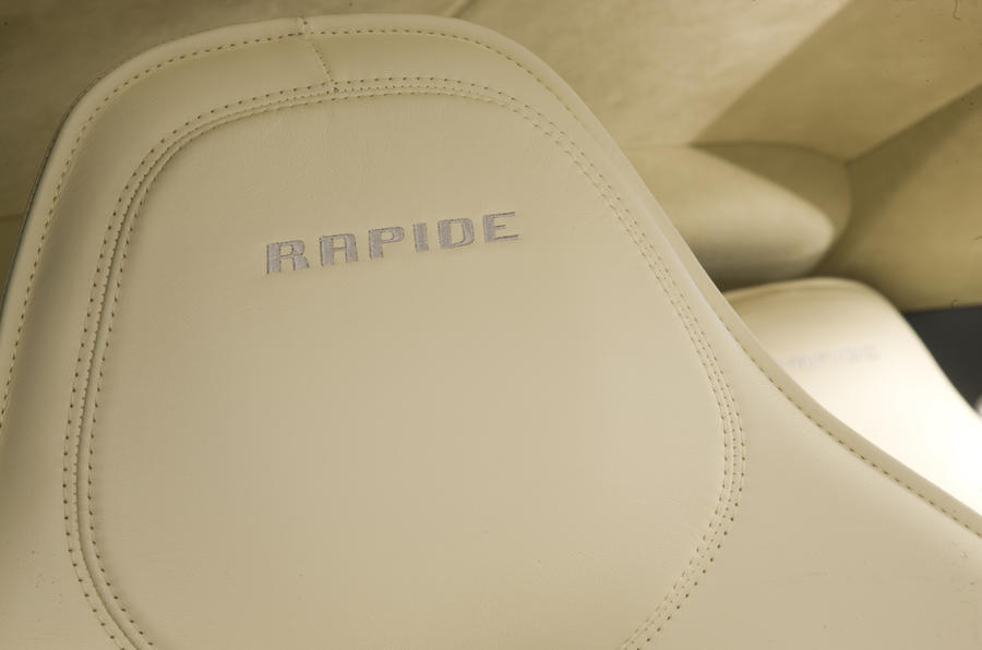 Aston Martin Rapide leather embossed seats