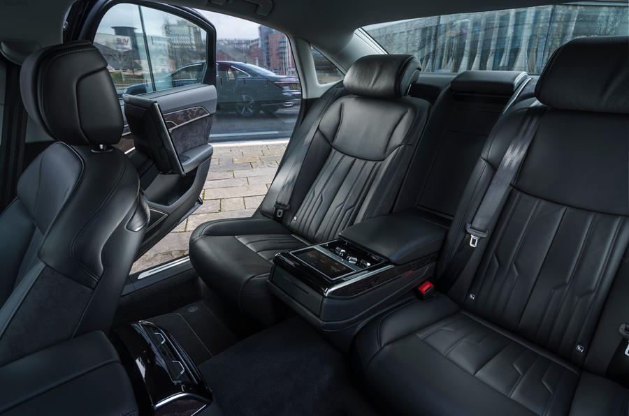 Audi A8 60 TFSIe 2020 road test review - rear seats