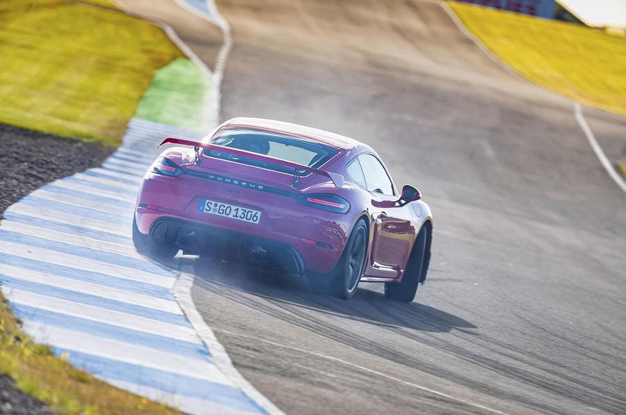 Porsche 718 Cayman GT4 2019 road test review - tyre smoke