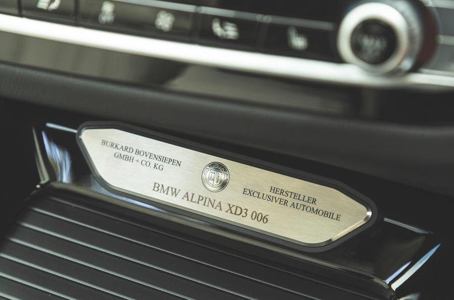 Alpina XD3 2019 UK road test review - plaque
