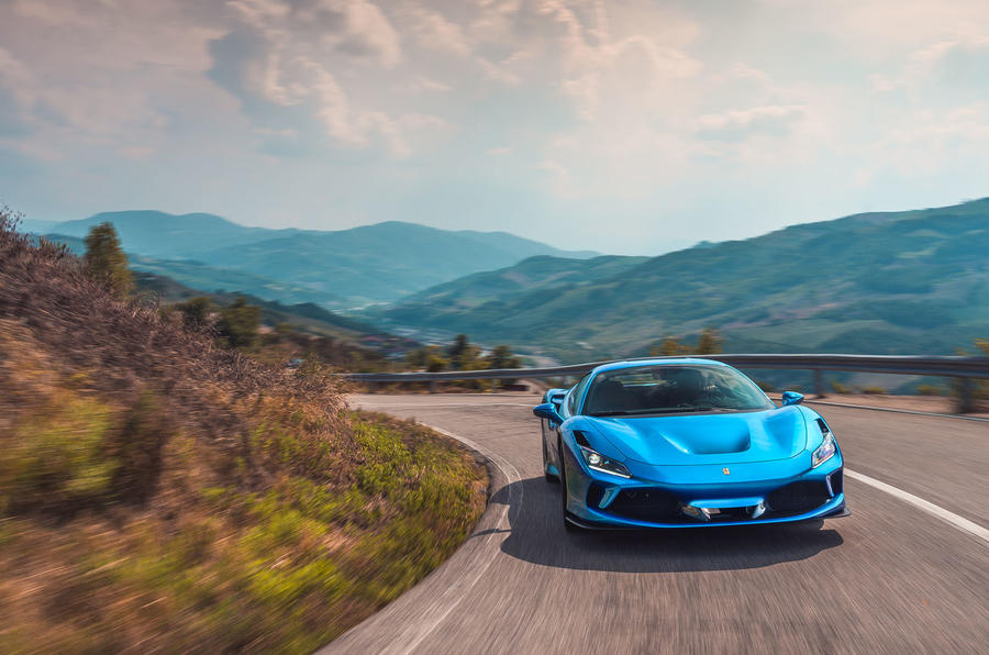 Ferrari F8 Tributo 2019 road test review - cornering front