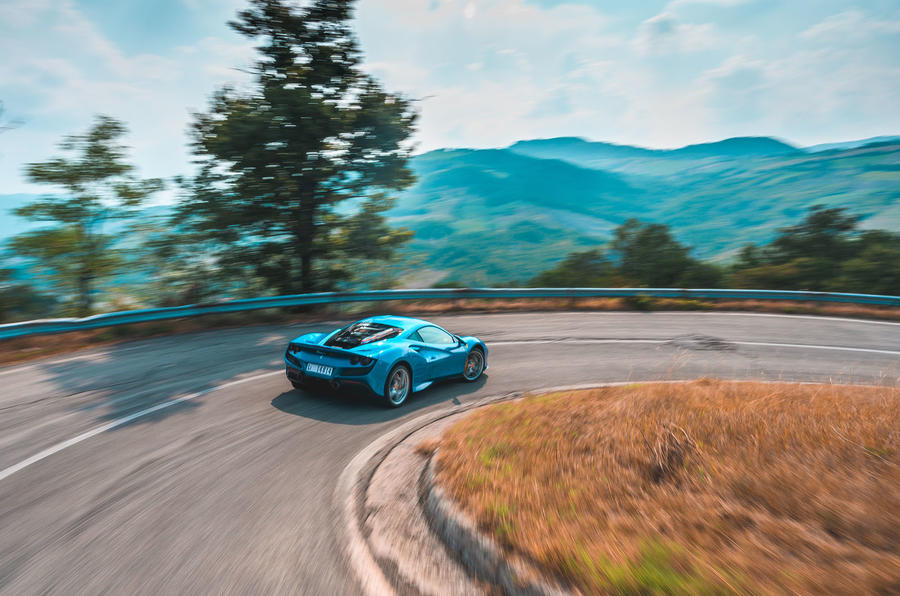 Ferrari F8 Tributo 2019 road test review - cornering rear