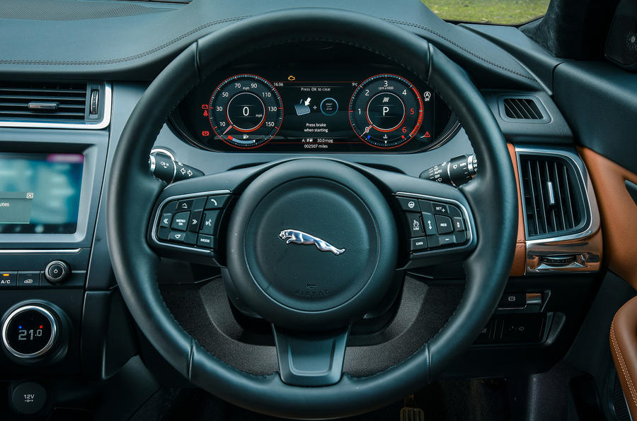 Jaguar E-Pace review steering wheel