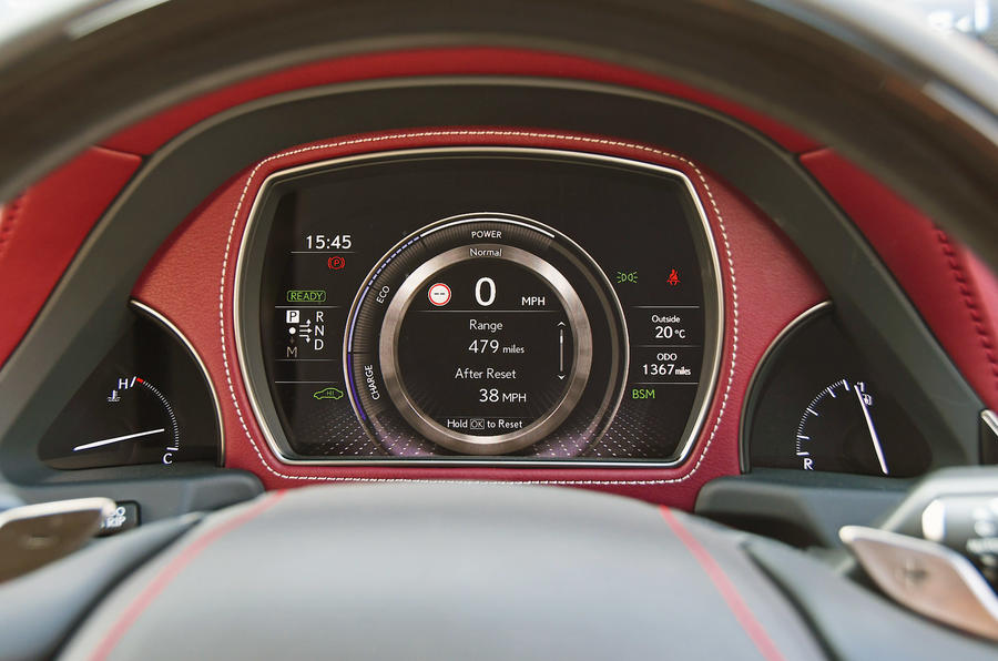 Lexus LS500h 2018 road test review instrument cluster