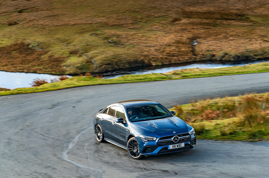Mercedes-AMG CLA35 2020 road test review - cornering front