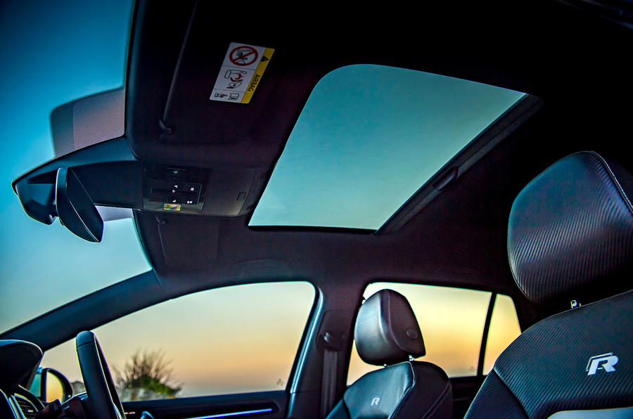 Volkswagen Golf R 2019 road test review - sunroof interior