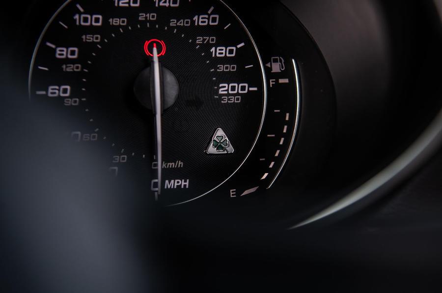 Alfa Romeo Stelvio Quadrifoglio 2019 road test review - speedo