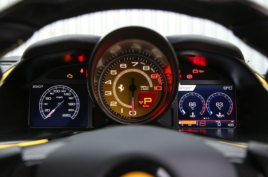 Ferrari 812 Superfast 2018 road test review instrument cluster