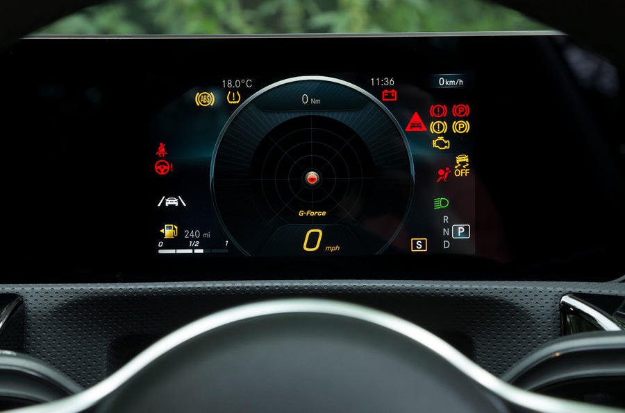 Mercedes-Benz A-Class 2018 road test review instrument cluster g meter