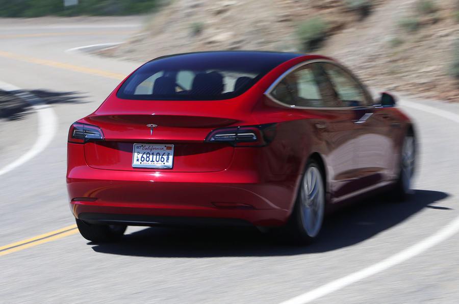 Tesla Model 3 2018 road test review cornering rear