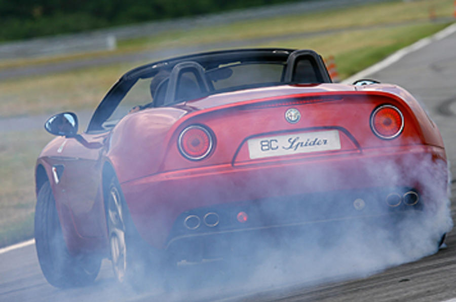 Alfa Romeo 8C Spider rear drifting