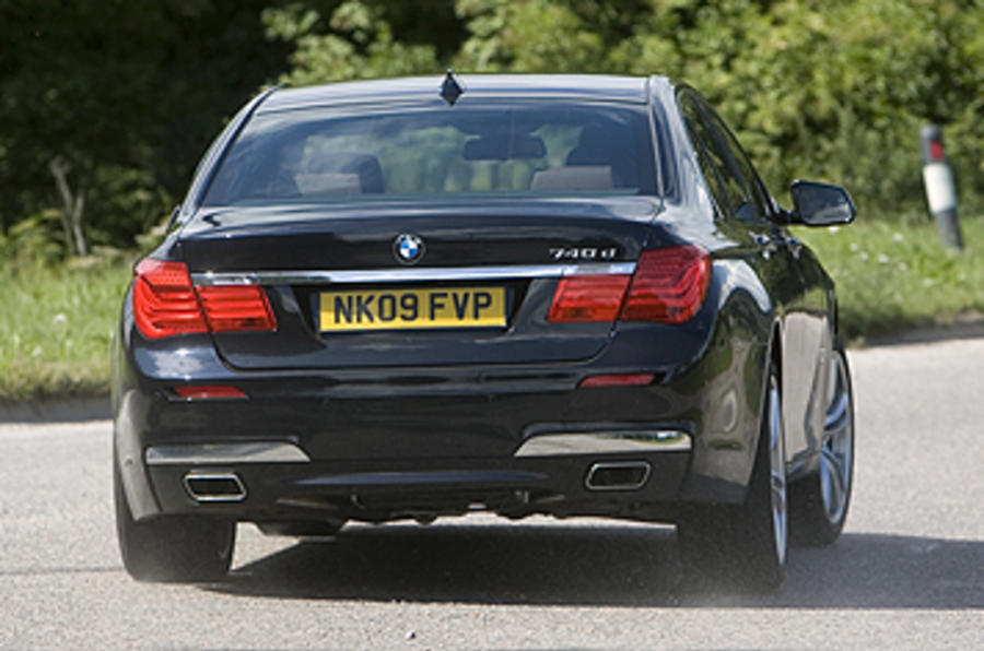 BMW 740d M Sport hard rear cornering