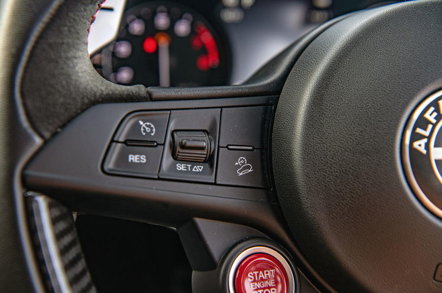 Alfa Romeo Stelvio Quadrifoglio 2019 road test review - steering wheel buttons