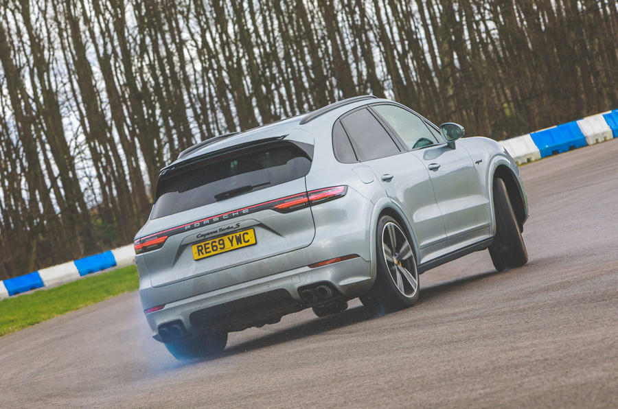 Porsche Cayenne Turbo S E-Hybrid road test review - cornering rear