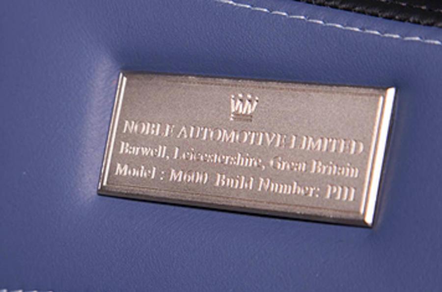 Noble M600 plaque