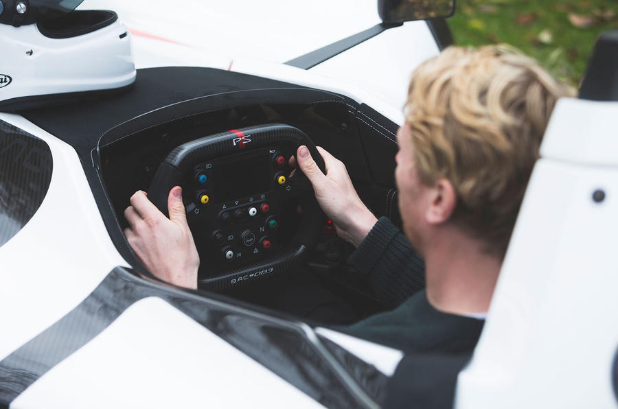 BAC Mono 2018 review - Richard Lane steering wheel