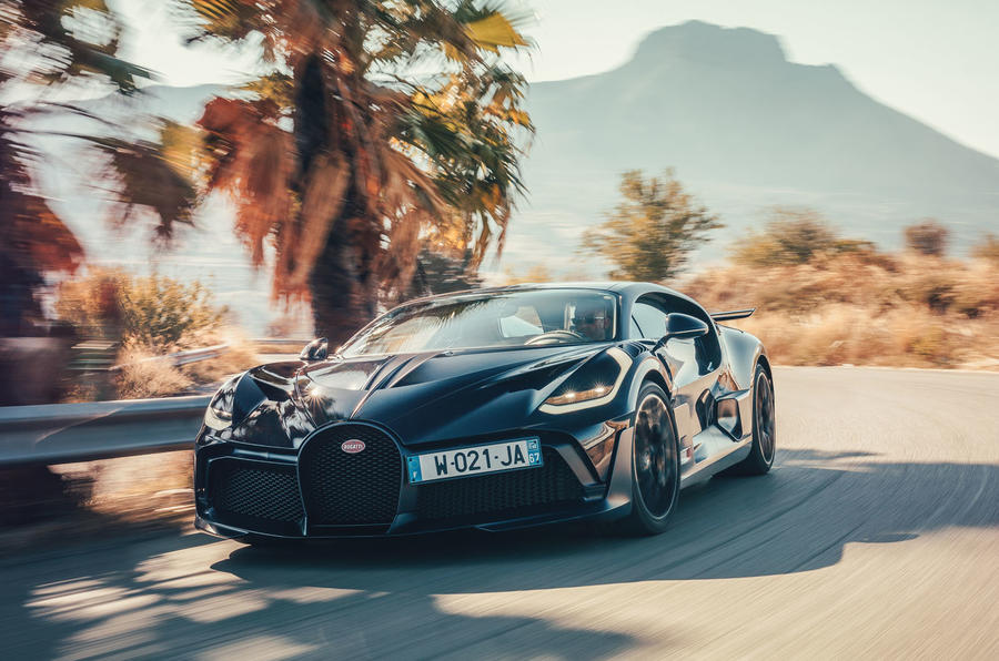 Bugatti Divo 2020 road test review - cornering front