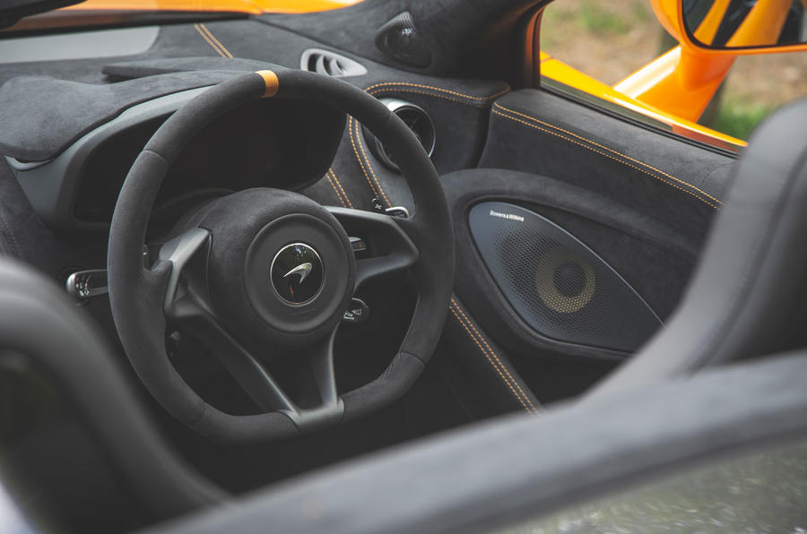 McLaren 600LT Spider 2019 road test review - steering wheel