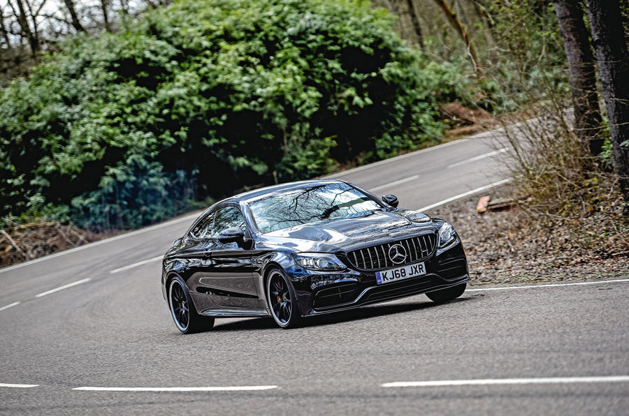 Mercedes-AMG C63 Coupé 2019 road test review - cornering front