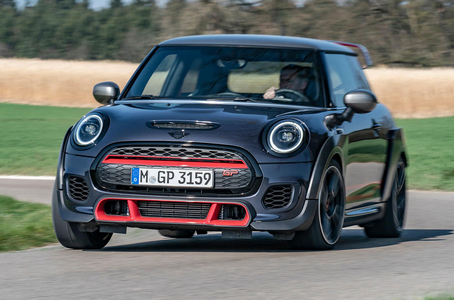 Mini JCW GP 2020 road test review - cornering front