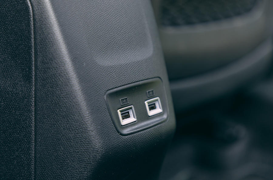 Peugeot e-2008 2020 road test review - rear USB ports