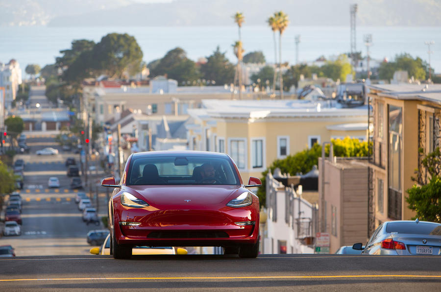 Tesla Model 3 2018 road test review on the road front