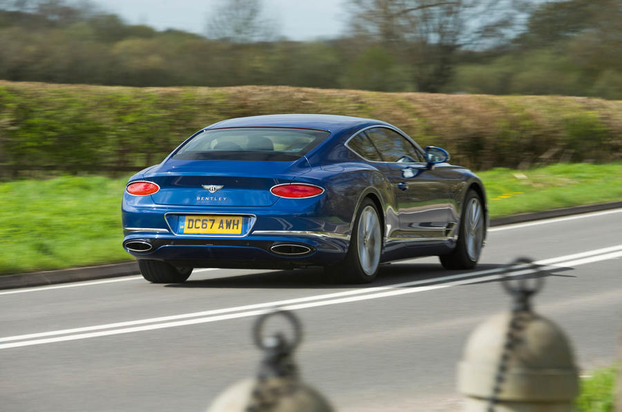 Bentley Continental GT 2018 Autocar road test review hero rear