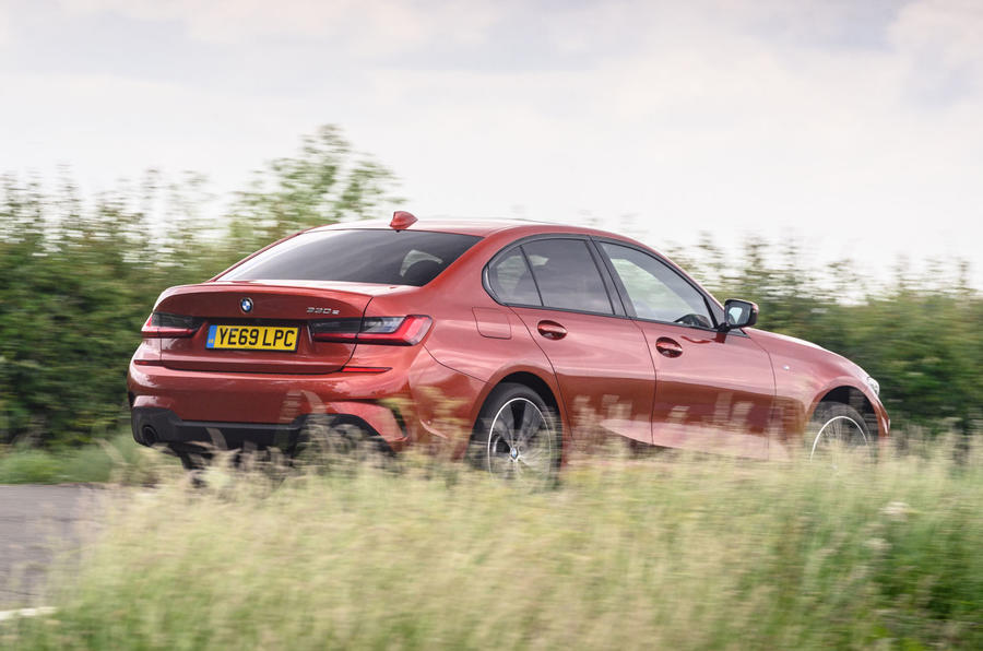 BMW 3 Series 330e 2020 road test review - hero rear