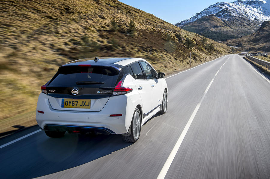 Nissan Leaf 2018 UK review hero rear