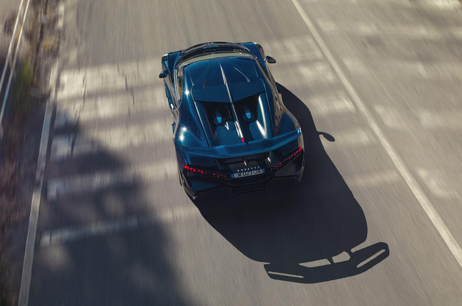 Bugatti Divo 2020 road test review - on the road aerial