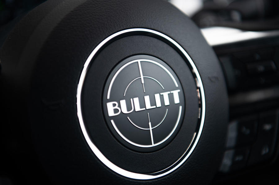 Ford Mustang Bullitt 2018 road test review - steering wheel logo