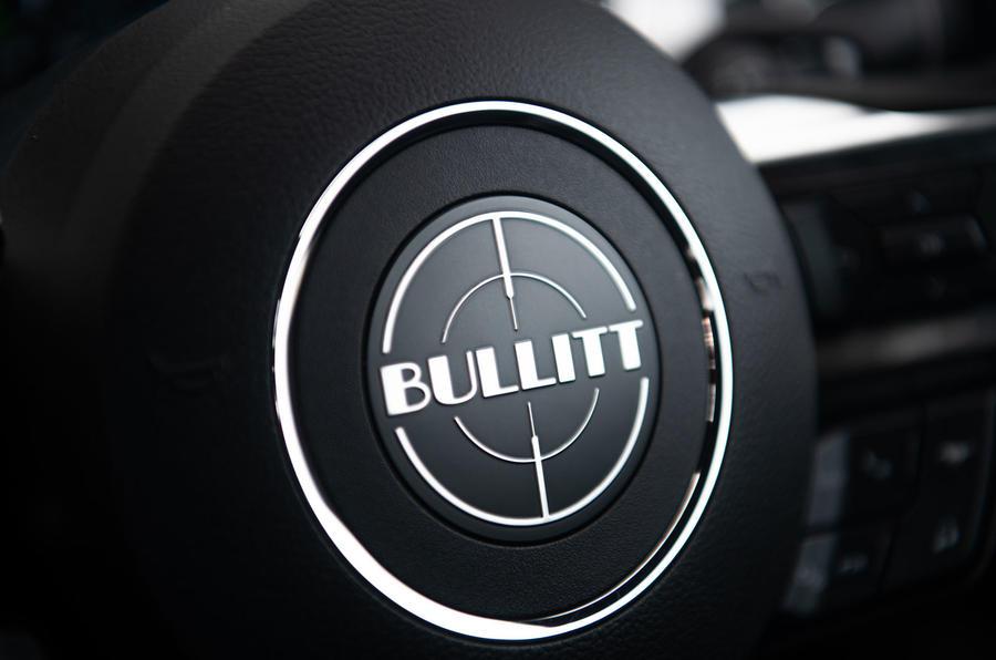 Ford Mustang Bullitt 2018 road test review - steering wheel logo
