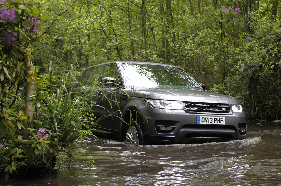 A submerged Range Rover Sport