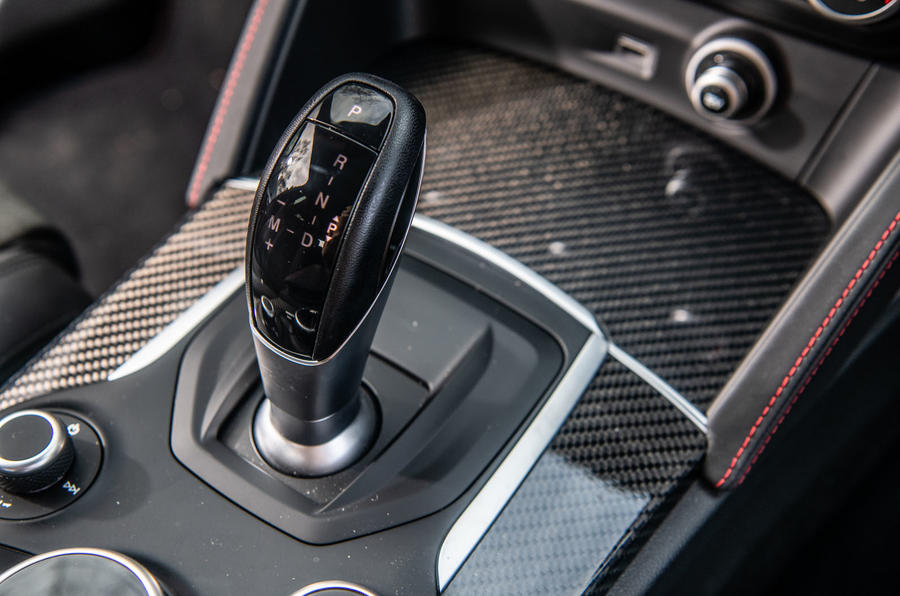 Alfa Romeo Stelvio Quadrifoglio 2019 road test review - gearstick