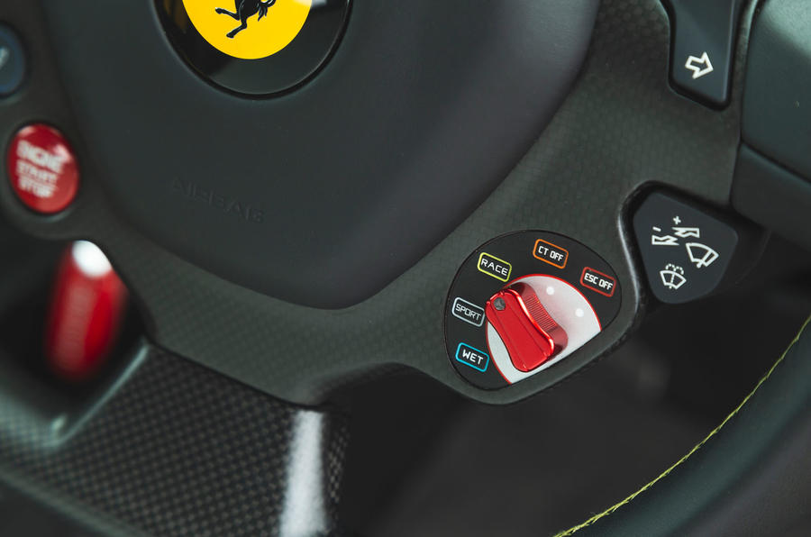 Ferrari 488 Pista 2019 road test review - drive mode controls