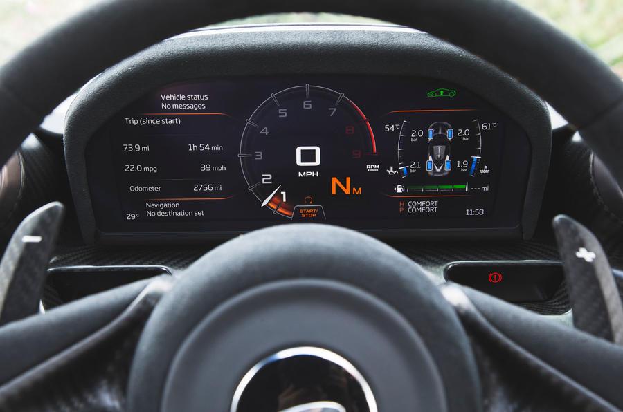 McLaren Senna 2018 road test review - instrument cluster