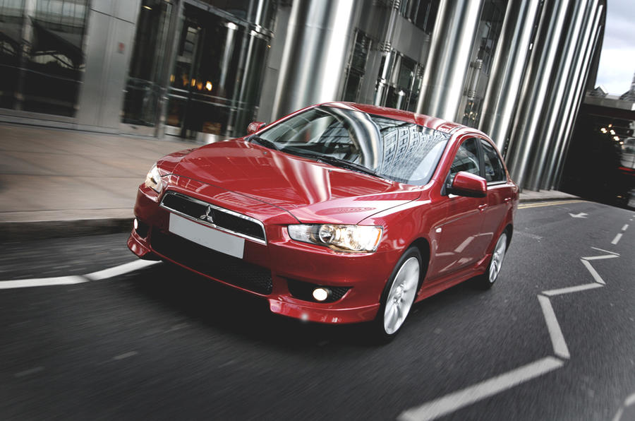 Mitsubishi Lancer on the road