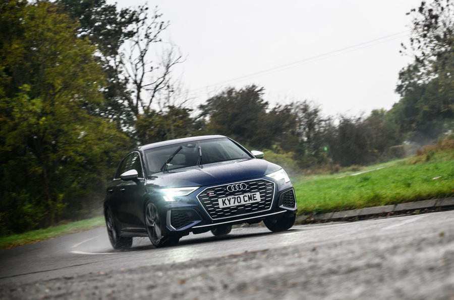 Audi S3 Sportback 2020 road test review - cornering front