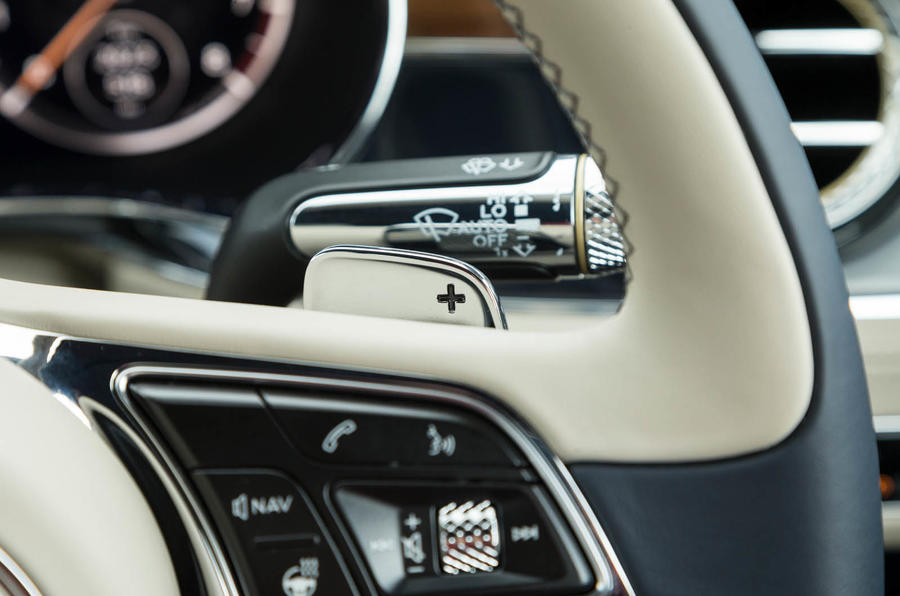 Bentley Continental GT 2018 Autocar road test review gear shifters