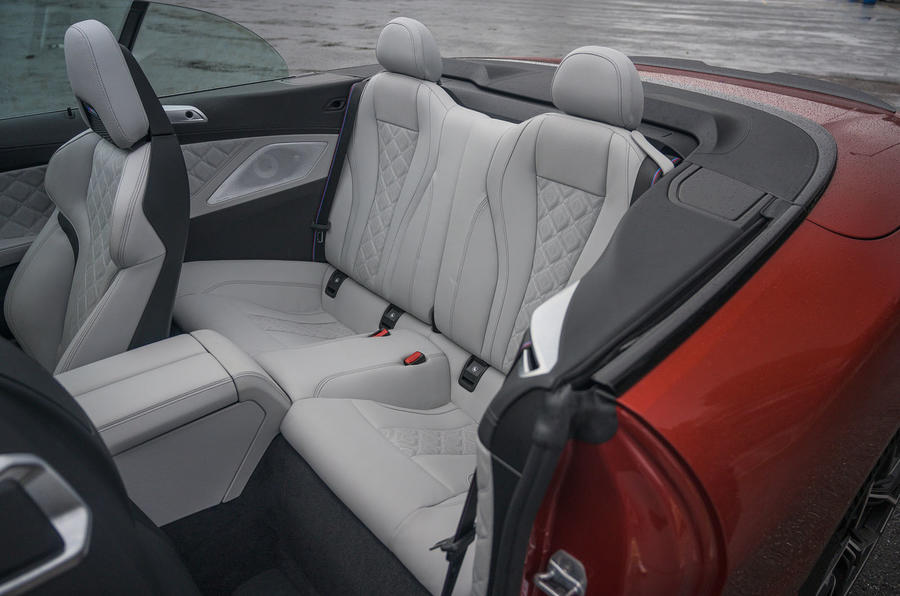 BMW M8 Competition convertible 2020 road test review - rear seats